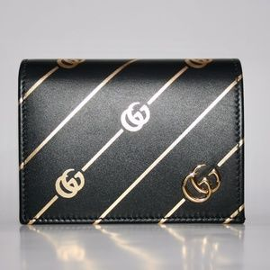Gucci Wallet With Metallic Gold Double G Stripe